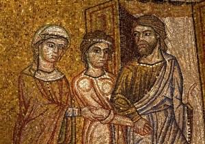 Сараи отдает Агарь Авраму. Мозаика собора св. Марка